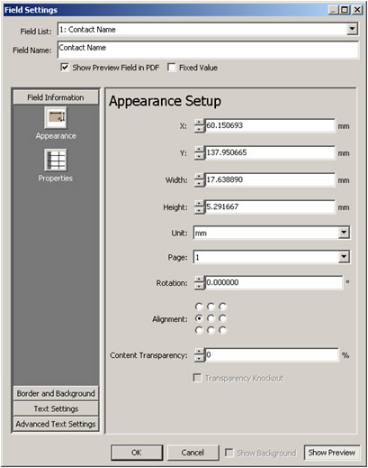 Engage Plug-in for Adobe® Acrobat® Text Appearance