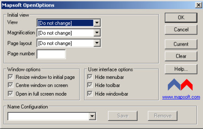 OpenOptions plug-in for Adobe® Acrobat® main window